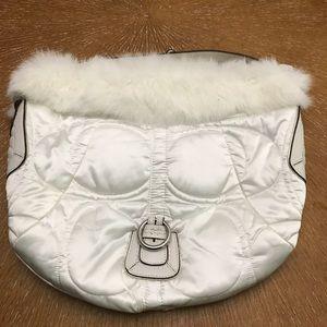 Coach White Hobo w/ White Rabbit Fur NWT